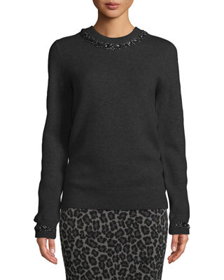 MICHAEL KORS Crystalized-Necklace Crewneck Cashmere-Blend Sweatshirt in Black