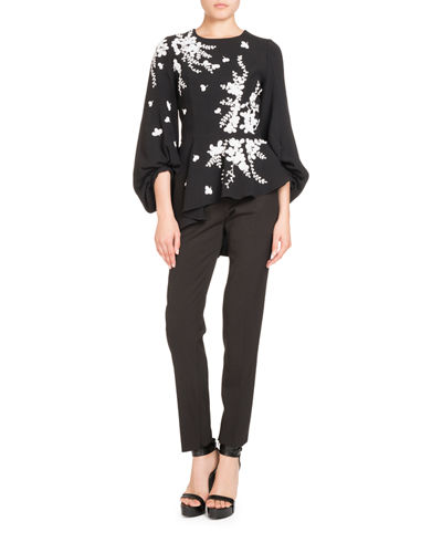 Embroidered Blouson-Sleeve Top