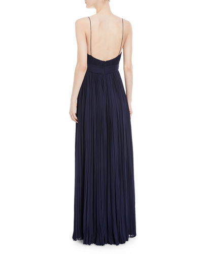 Pleated Bicolor Chiffon Gown