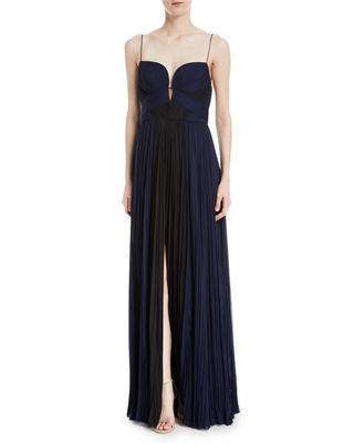 J MENDEL PLEATED BICOLOR CHIFFON GOWN