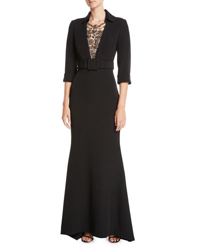 Jeweled Front 34 Sleeve Belted Trumpet Tuxedo Evening Gown