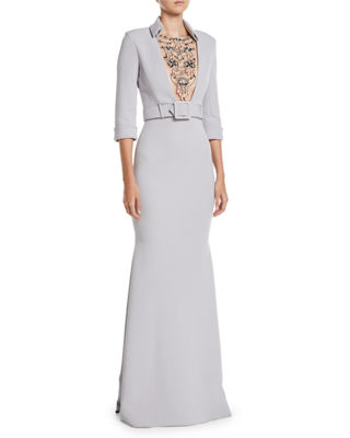 JEWELED-FRONT 3/4-SLEEVE BELTED TRUMPET TUXEDO EVENING GOWN