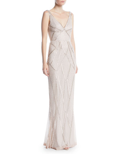V-Neck Sleeveless Beaded Embellished Evening Gown