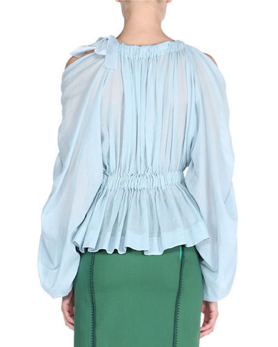 Gathered Balloon-Sleeve Voile Top