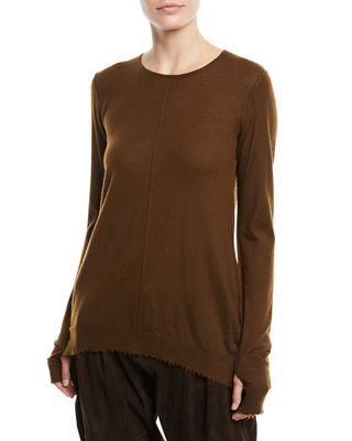 CREWNECK LONG-SLEEVE CASHMERE PULLOVER SWEATER