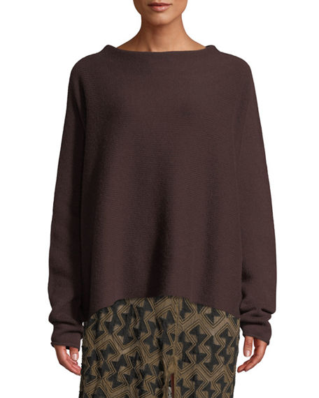 Urban Zen BOAT-NECK LONG-SLEEVE CASHMERE SWEATER