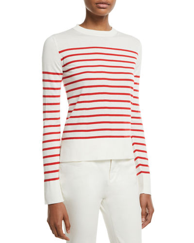 Loro Piana Crewneck Striped Lightweight Cashmere Pullover Sweater