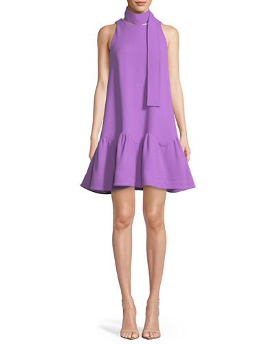 Detachable-Collar Sleeveless Flounce-Hem Trapeze Dress