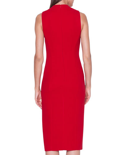 Sleeveless V-Neck Wool Double-Face Sheath Dress