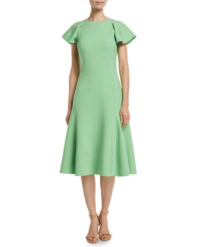 Flutter-Sleeve A-Line Stretch-Wool Midi Dress