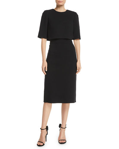 Trompe L'oeil Short-Sleeve Popover Sheath Dress