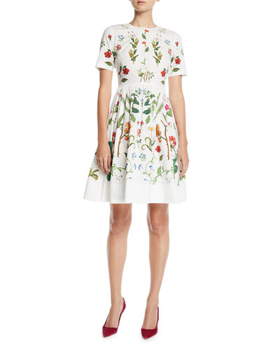 Short Sleeve Fl Print Fit And Flare Day Dress Quick Look Oscar De La A