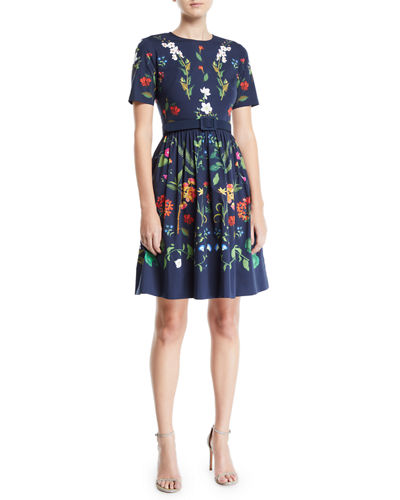 Short-Sleeve Floral-Print Fit-and-Flare Day Dress