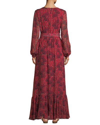 Dianora Long-Sleeve Tie-Waist Floral-Print Silk Georgette Maxi Dress