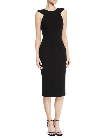 Zac Posen TRIANGLE SHOULDER-CUTOUTS SHEATH COCKTAIL DRESS