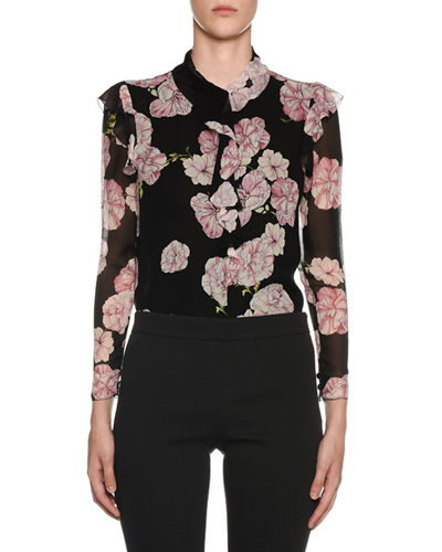 1745780f81d66 Long-Sleeve Ruffled-Trim Floral-Print Silk Blouse