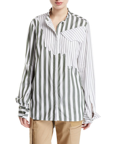 Olive Torn Mixed-Stripe Button-Front Shirt