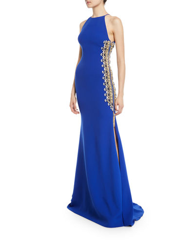 Badgley Mischka Couture Beaded-Side Zipper Slit High-Neck Gown