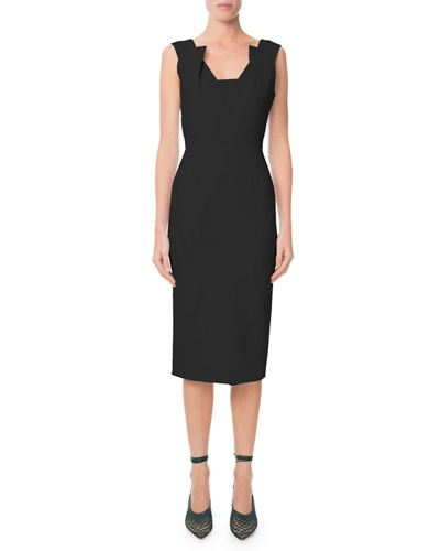 Coleby Pleated V-Neck Fitted Sheath Dress