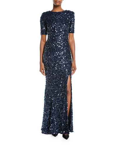 Short-Sleeve Front-Slit Sequin-Embroidered Evening Gown