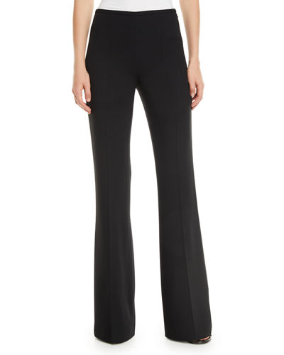 Side-Zip Flare-Leg Crepe Pants
