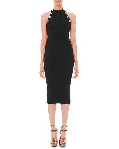 High-Neck Ribbed Body-Con Dress