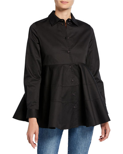 Tiered Button-Front Blouse