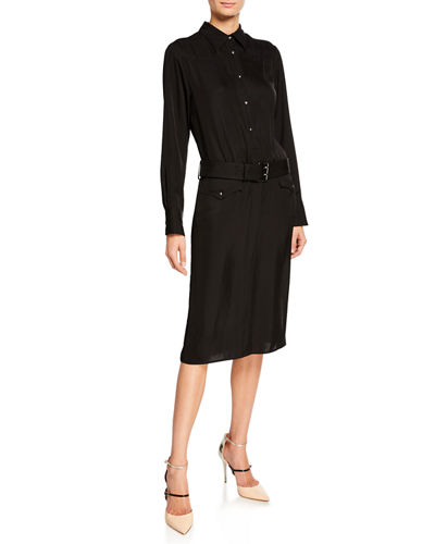 Long-Sleeve Twill Button-Front Shirtdress