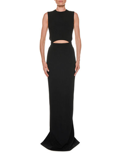 Sleeveless Cutout Stretch Cady Gown