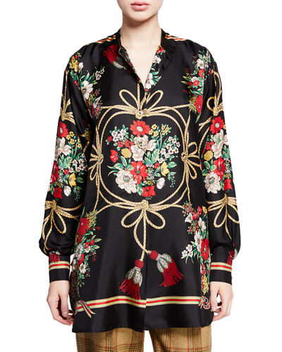 907b96502fbebe Gucci Intrigue Floral and Tassel Print Button-Front Blouse