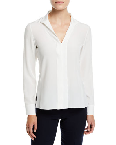 Split-Neck Silk Button-Front Blouse