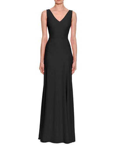 Sleeveless V-Neck Leaf-Crepe Gown