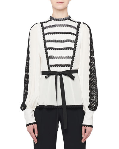 Long-Sleeve Lace-Striped Ribbon Waist Blouse