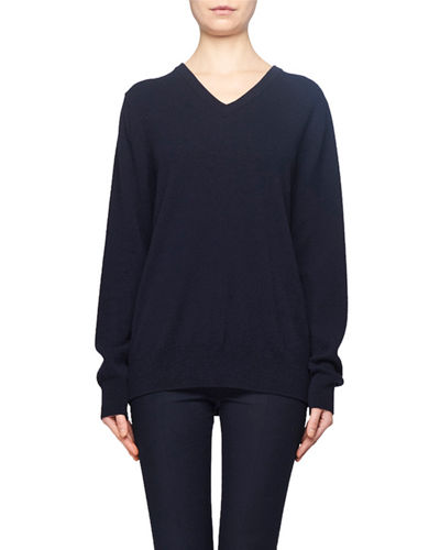 Maley V-Neck Long-Sleeve Cashmere-Blend Sweater