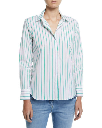 Brunello Cucinelli Striped Button-Front Cotton Blouse