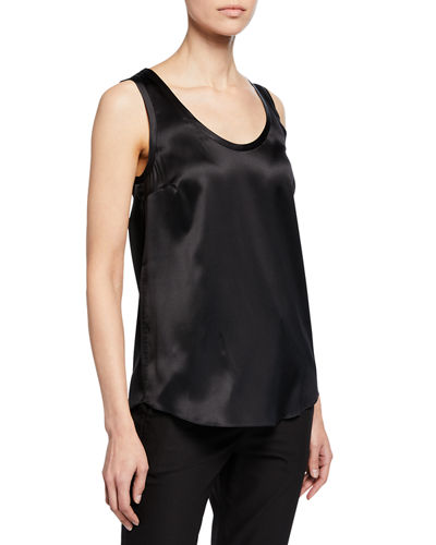 Brunello Cucinelli Reversible Silk-Stretch Satin Scoop-Neck Tank