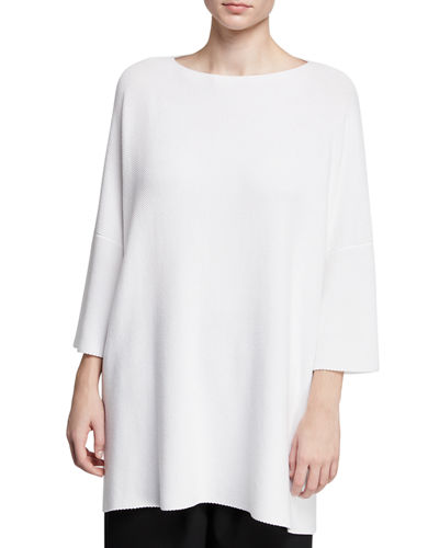 Eskandar 3/4-Sleeve Cotton Square Top