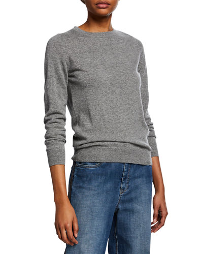 Crewneck Long-Sleeve Basic Cashmere Sweater w/ Monili Detail