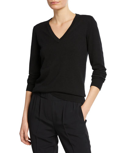 Cashmere V-Neck Sweater with Monili Detail