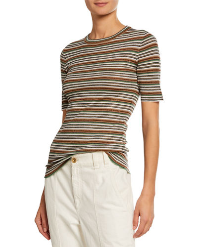 Metallic Striped Crewneck Short-Sleeve T-Shirt