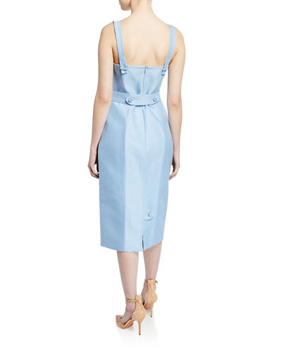 Sleeveless Square-Neck Tie-Waist Dress