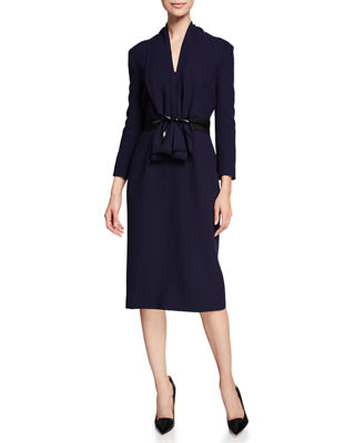 ATELIER CAITO FOR HERVE PIERRE 3/4-Sleeve Bow-Belted Cocktail Dress in Black/Blue