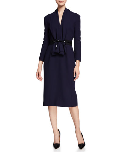 3/4-Sleeve Bow-Belted Cocktail Dress