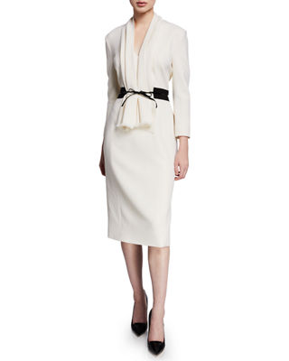 ATELIER CAITO FOR HERVE PIERRE 3/4-Sleeve Bow-Belted Cocktail Dress in White/Black