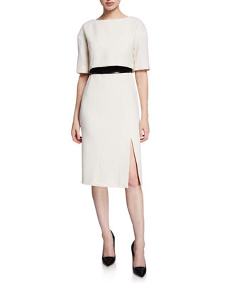 ATELIER CAITO FOR HERVE PIERRE 1/2-Sleeve Bow-Back Belted Cocktail Dress in Ivory