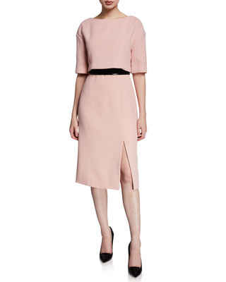 ATELIER CAITO FOR HERVE PIERRE 1/2-Sleeve Bow-Back Belted Cocktail Dress in Light Pink