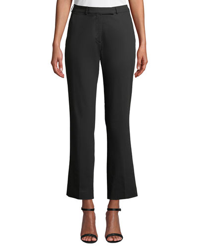 Mid-Rise Straight-Leg Stretch Cotton Pants
