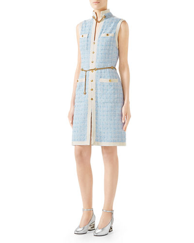 Sleeveless Short Tweed Dress with Chain Belt