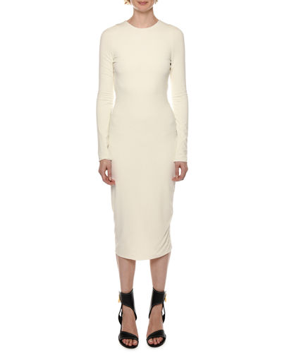 Long-Sleeve Bodycon Midi Dress
