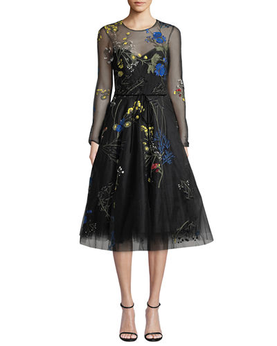 Long-Sleeve Floral-Embroidered Tulle Illusion Dress